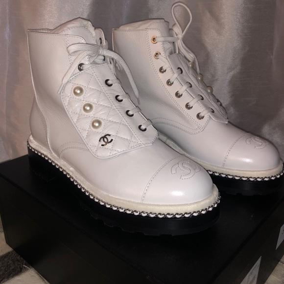 Chanel White Short Boots W Pearl   Poshmark